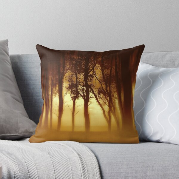 Morning Tree Silhouette(Sepia) Throw Pillow