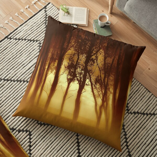 Morning Tree Silhouette(Sepia) Floor Pillow