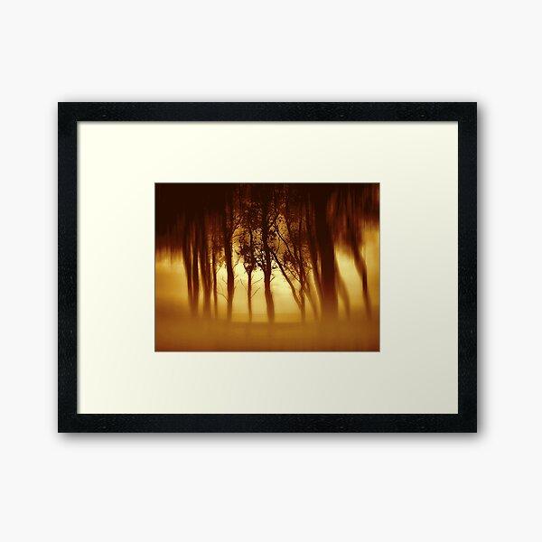 Morning Tree Silhouette(Sepia) Framed Art Print