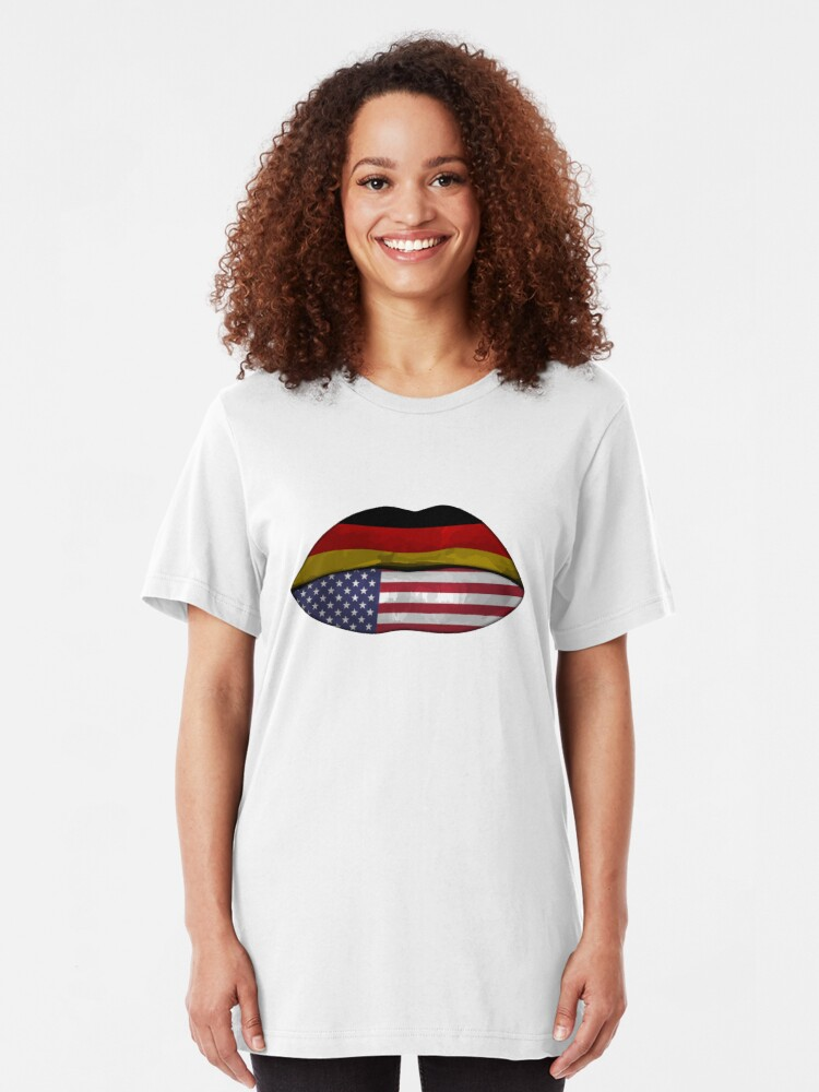 Alternative Ansicht von Germany USA Flag Lips - Dual Citizenship Slim Fit T-Shirt