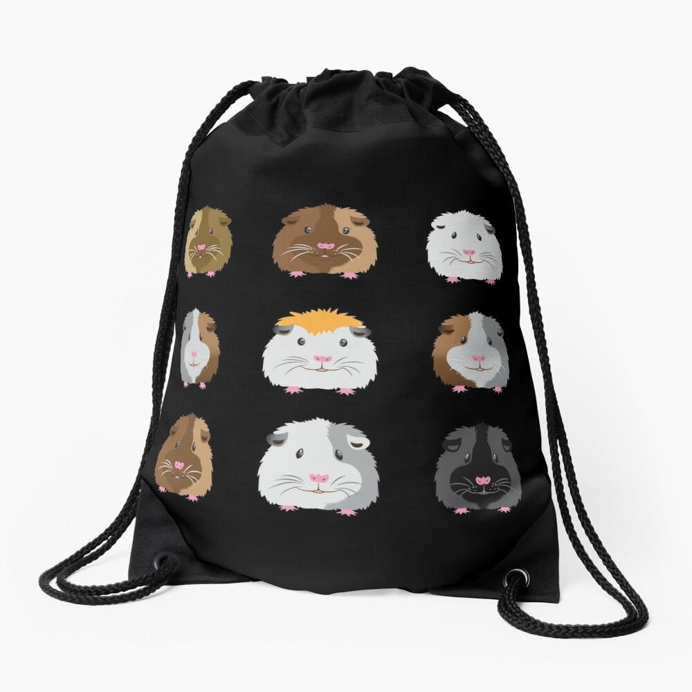 Nine Guinea pigs faces (Super cute!) Drawstring Bag