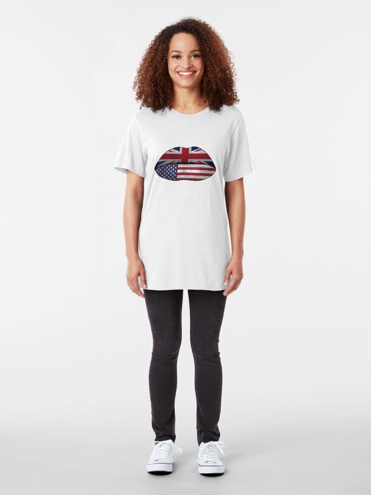 Alternative Ansicht von UK USA Flag Lips - Dual Citizenship Slim Fit T-Shirt