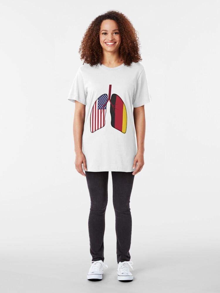 Alternative Ansicht von Germany USA Flag Lungs - Dual Citizenship Slim Fit T-Shirt