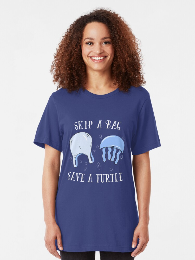 Alternative Ansicht von Skip A Bag Save A Turtle - Save Our Oceans Slim Fit T-Shirt