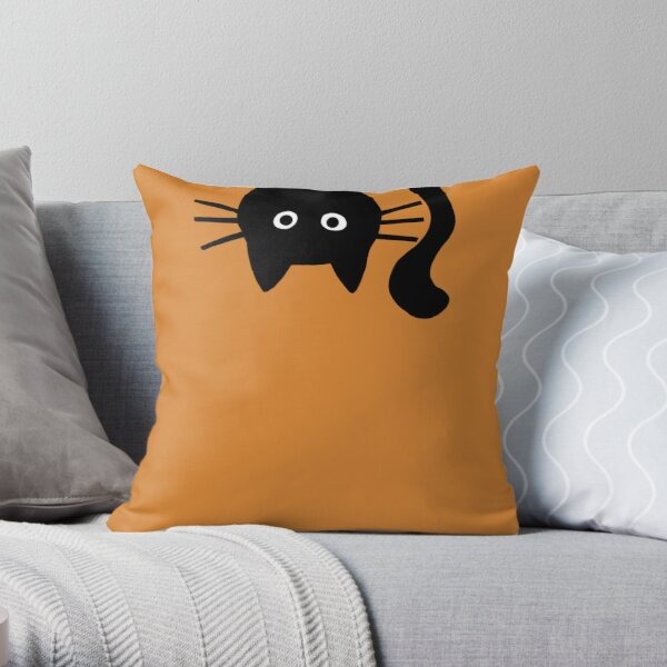 Funny Black Cat Throw Pillow