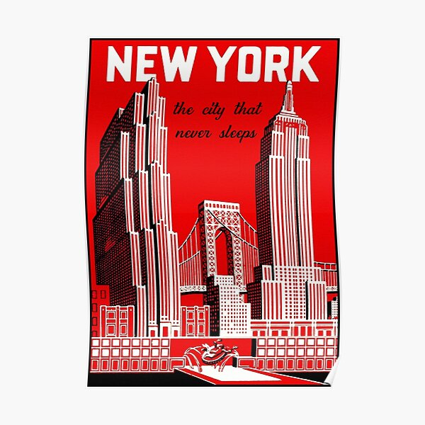 Vintage New York City Skyline Travel Poster Poster