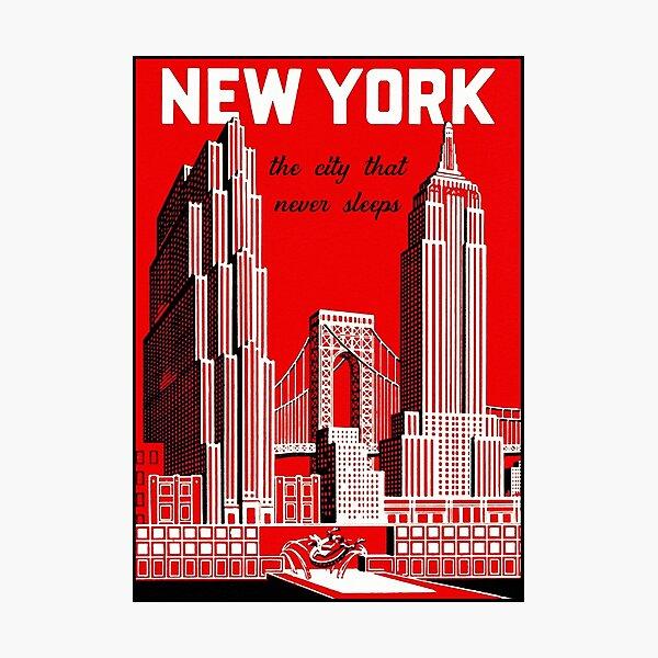 Vintage New York City Skyline Travel Poster Photographic Print