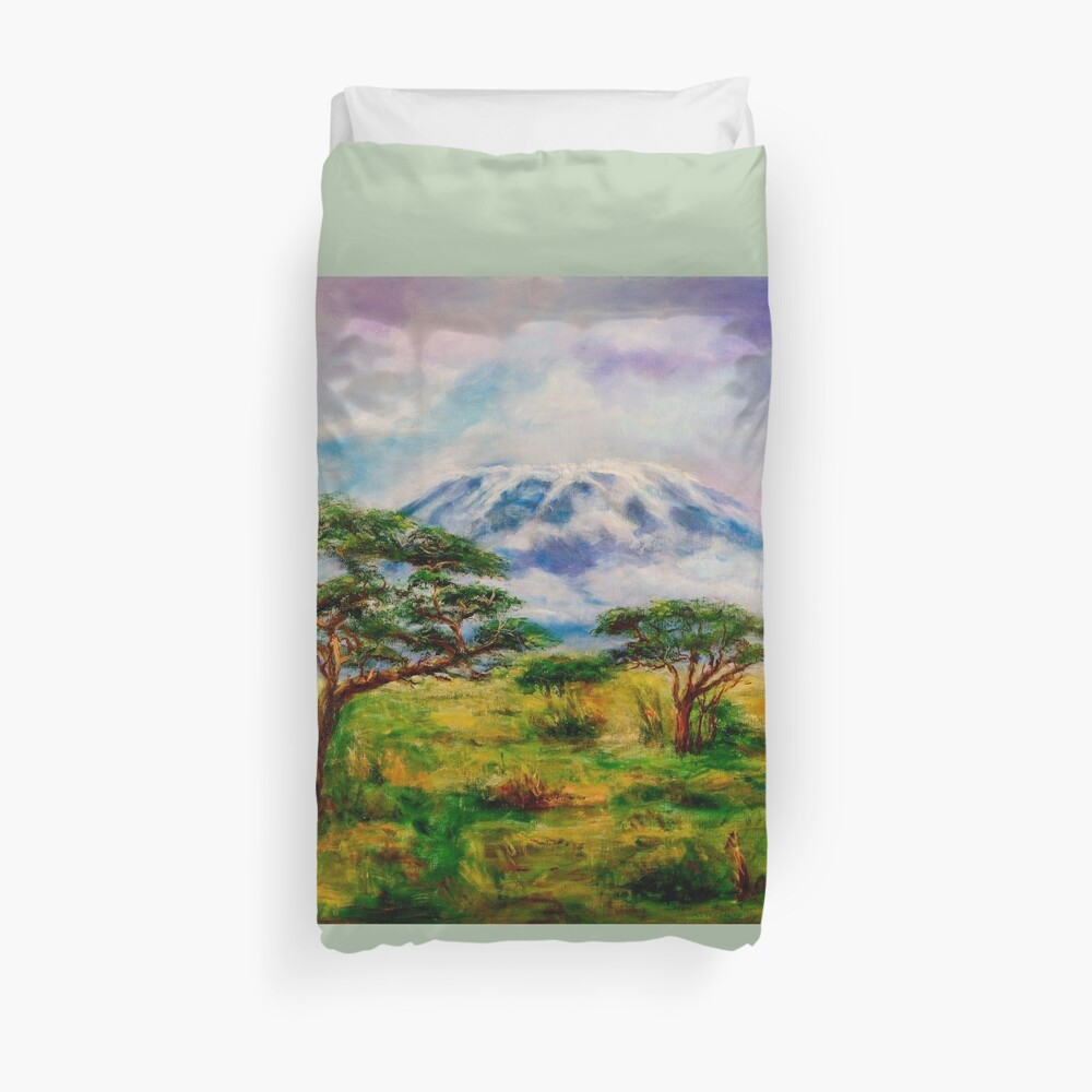Mount Kilimanjaro Tanzania.  Oil on Canvas Art by Sher Nasser.  Duvet Cover