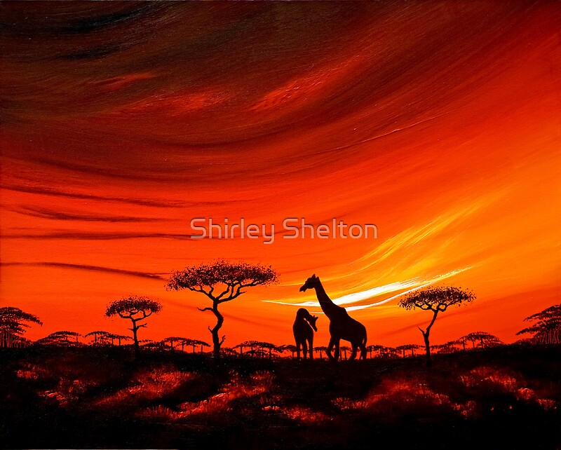Quot Giraffes At Daybreak Quot By Shirley Shelton Redbubble
