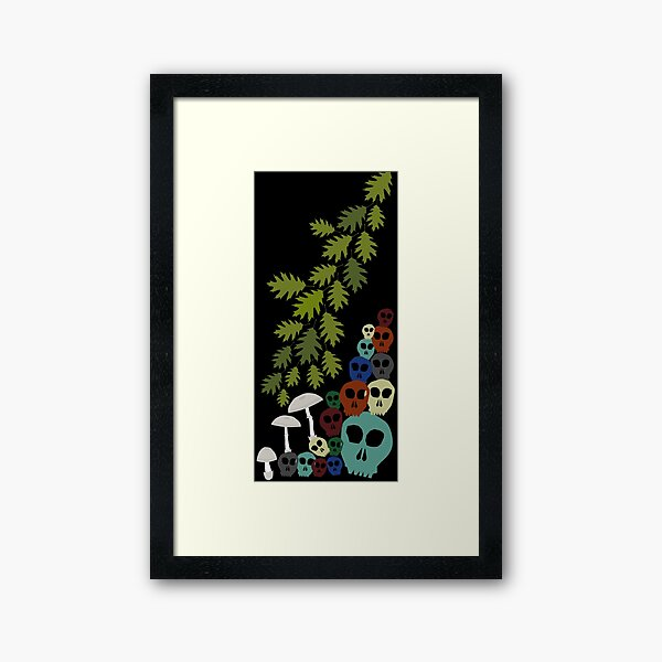 Oak Leaves, Skulls, Amanita Framed Art Print
