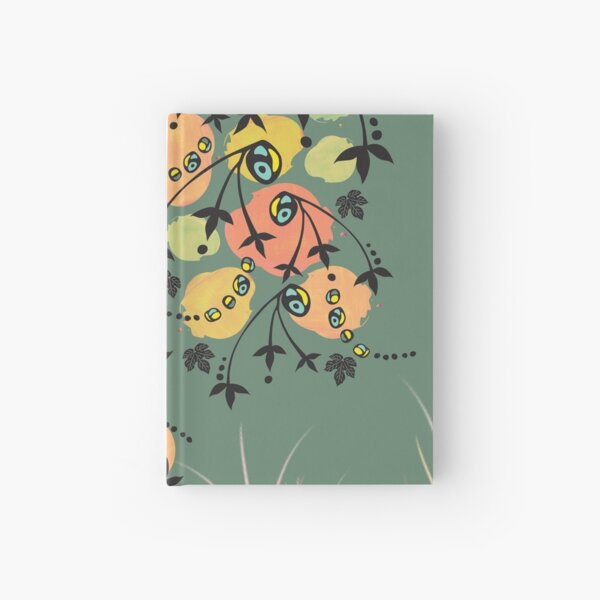 Orange Blob Plant with Eucalyptus-Green Background Hardcover Journal Hardcover Journal