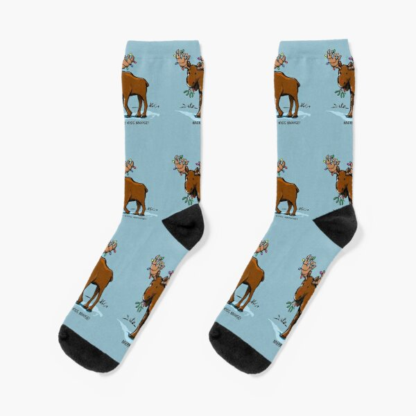 Merry Kiss Moose! Socks