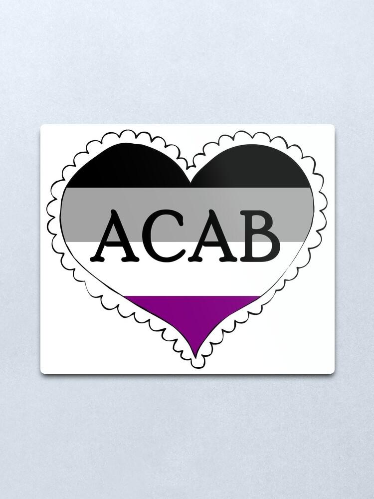 Alternate view of acab asexual flag heart Metal Print