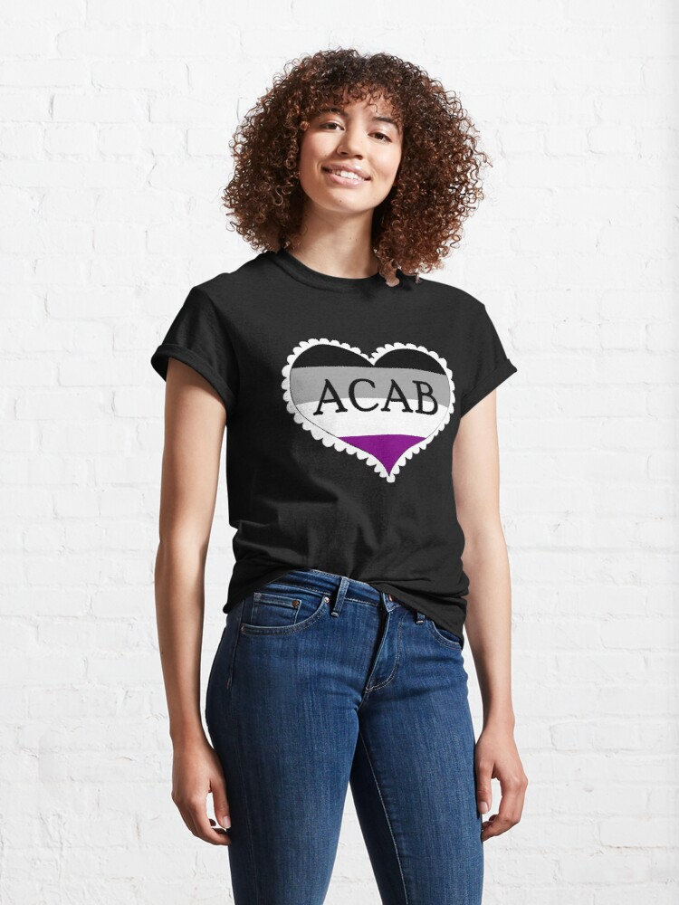 Alternate view of acab asexual flag heart Classic T-Shirt