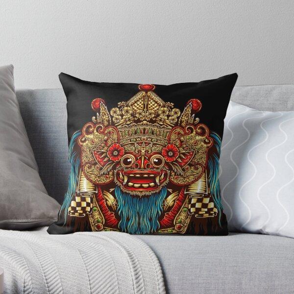 Barong Mask -Balinese mask - Bali mask Throw Pillow