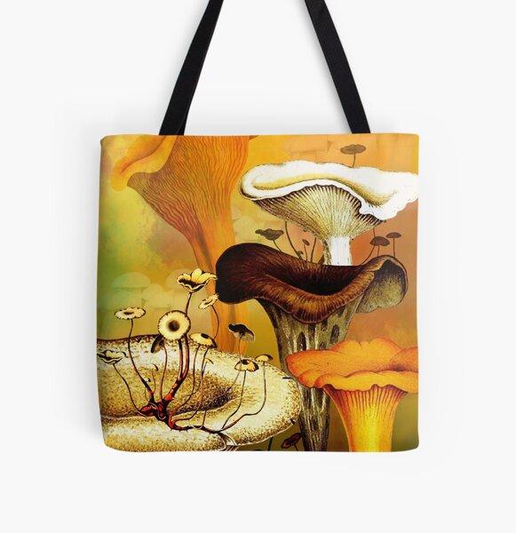 Mushroom Forest vintage botanical collage All Over Print Tote Bag