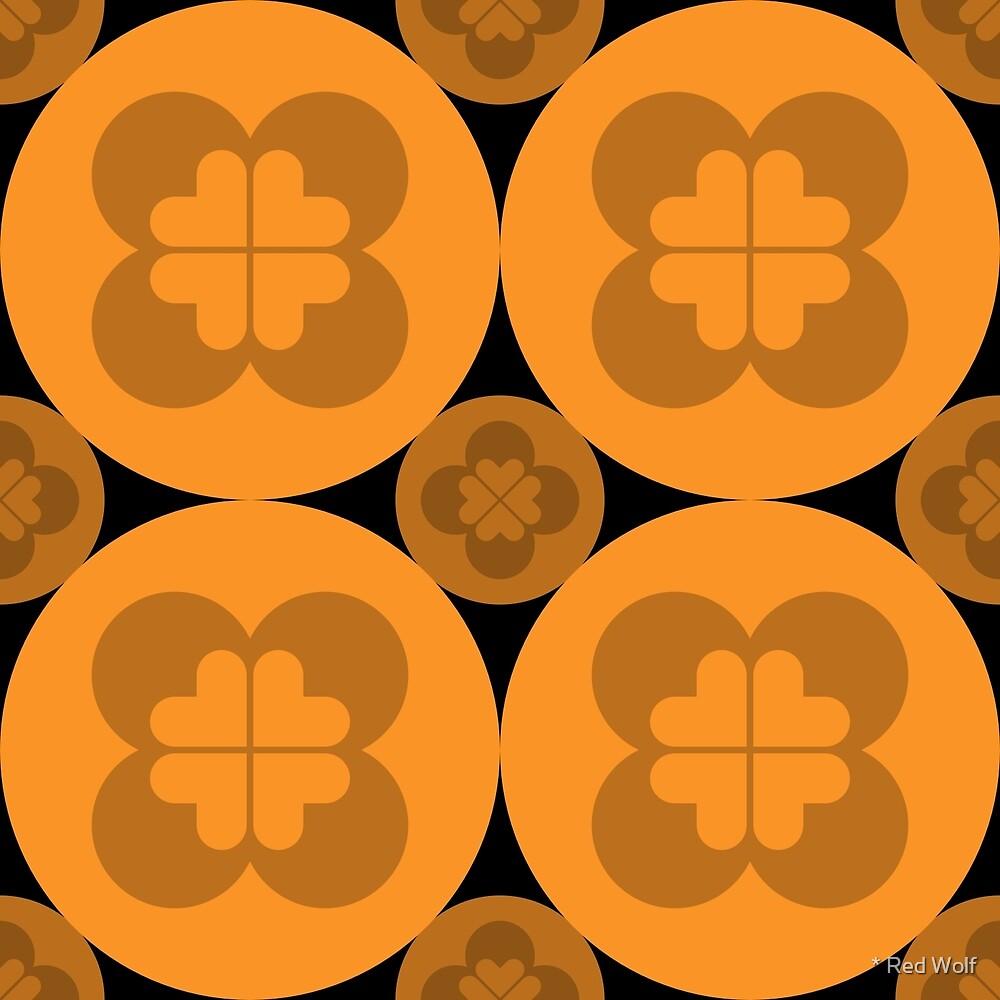 Geometric Pattern: Flower Circle: Orange Dark by * Red Wolf