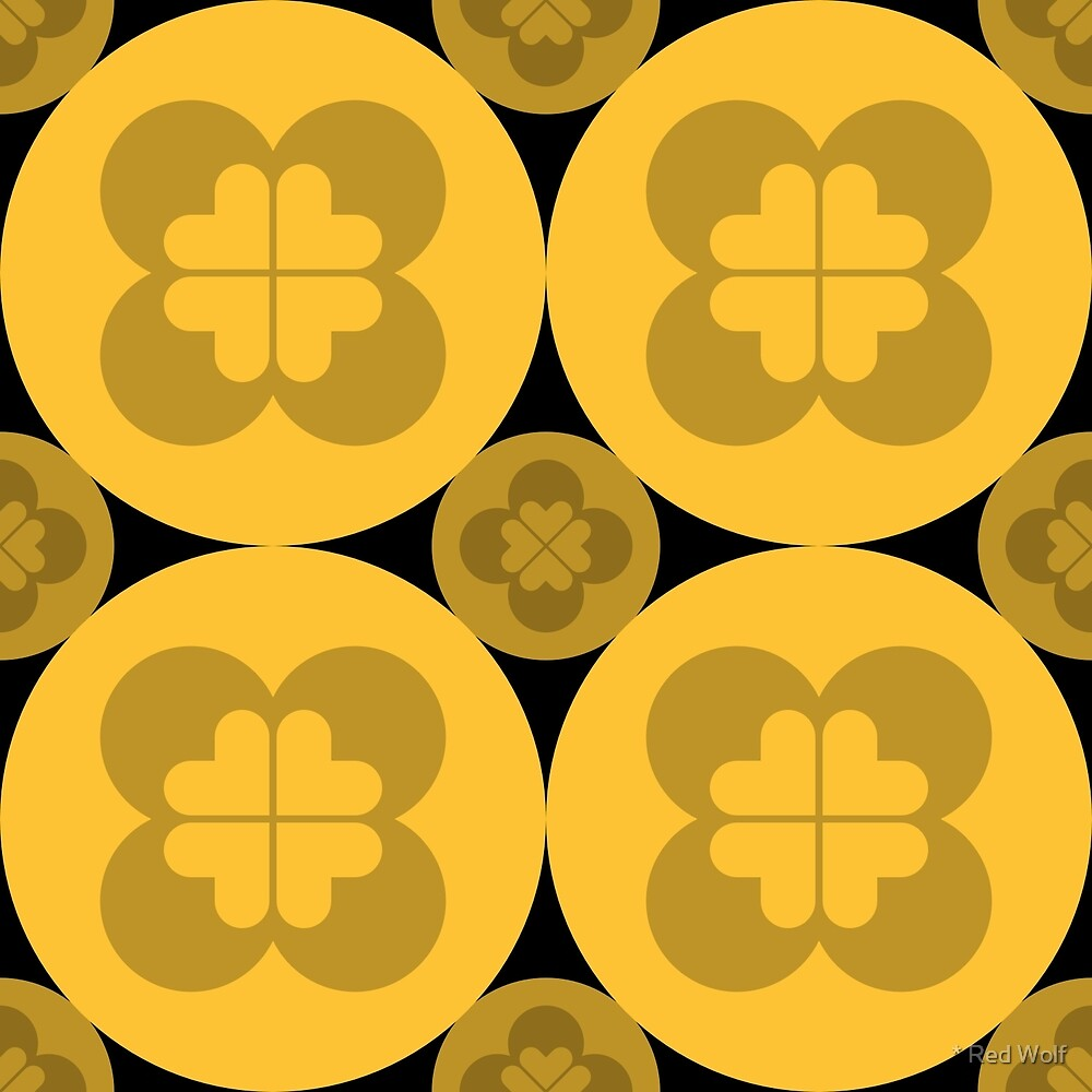 Geometric Pattern: Flower Circle: Yellow Dark by * Red Wolf