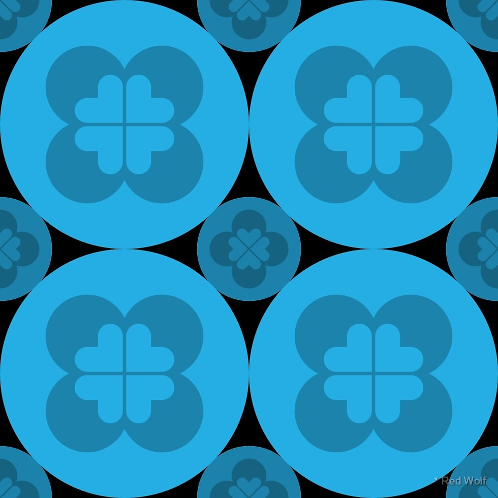 Geometric Pattern: Flower Circle: Blue Dark by * Red Wolf