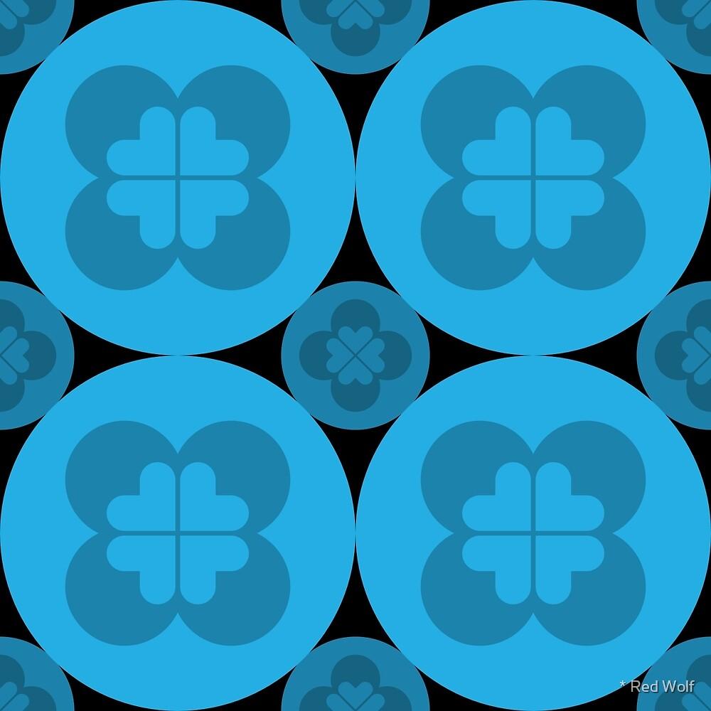 Geometric Pattern: Flower Circle: Blue Dark by * Red Wolf