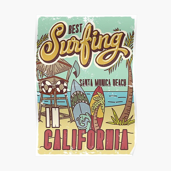 Best Surfing California, Santa Monica Beach Poster