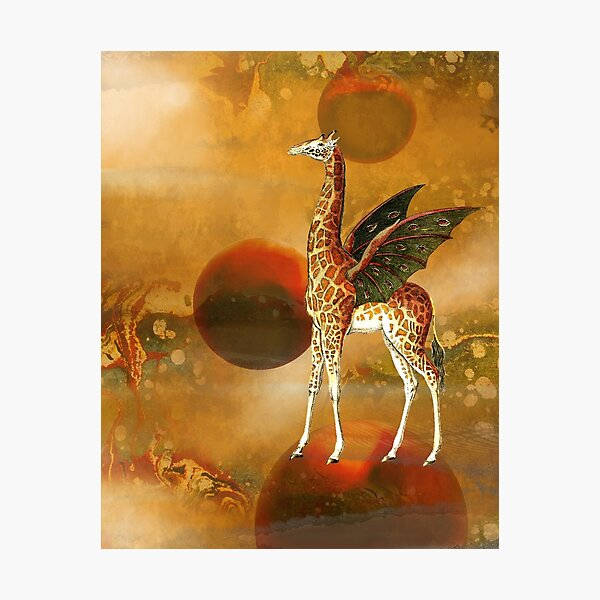 On Top of the World Giraffe Digital Collage Photographic Print