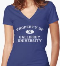 Property of Gallifrey University - 10th Doctor Women's Fitted V-Neck T-Shirt