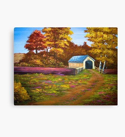 Covered Bridge in Acrylic Canvas Print