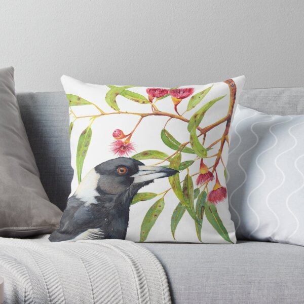 Australian Magpie and eucalyptus blossoms watercolour painting Throw Pillow