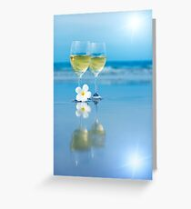 Two glasses of white wine Greeting Card
