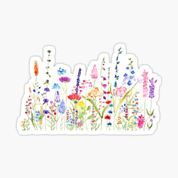 colorful wild flower field  Sticker