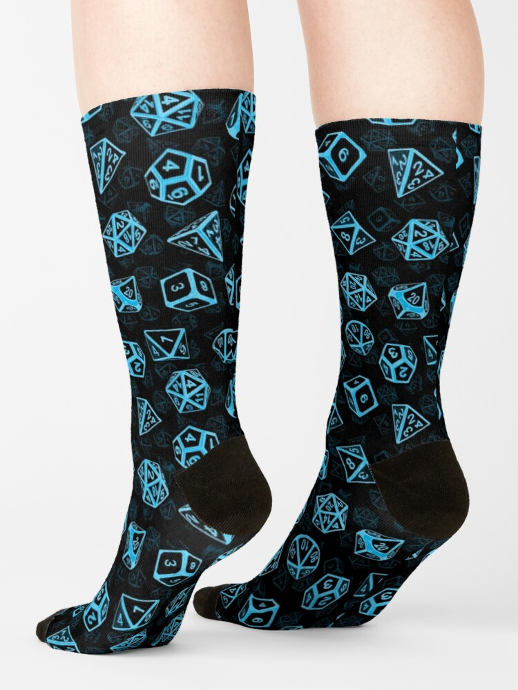 Alternate view of D20 Dice Set Pattern (Blue) Socks