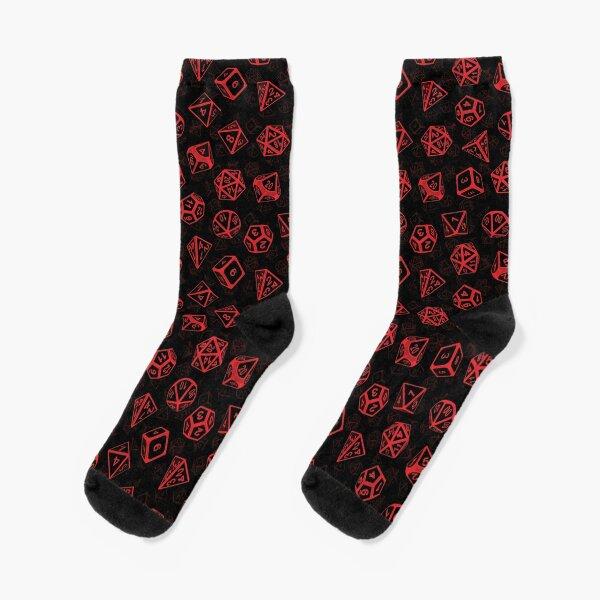 D20 Dice Set Pattern (Red) Socks