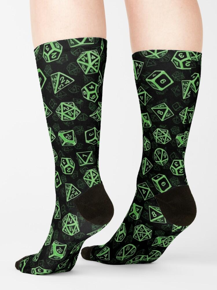 Alternate view of D20 Dice Set Pattern (Green) Socks