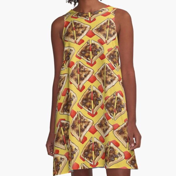 Vegemite on Toast Dreams, Aussie Red and Gold A-Line Dress
