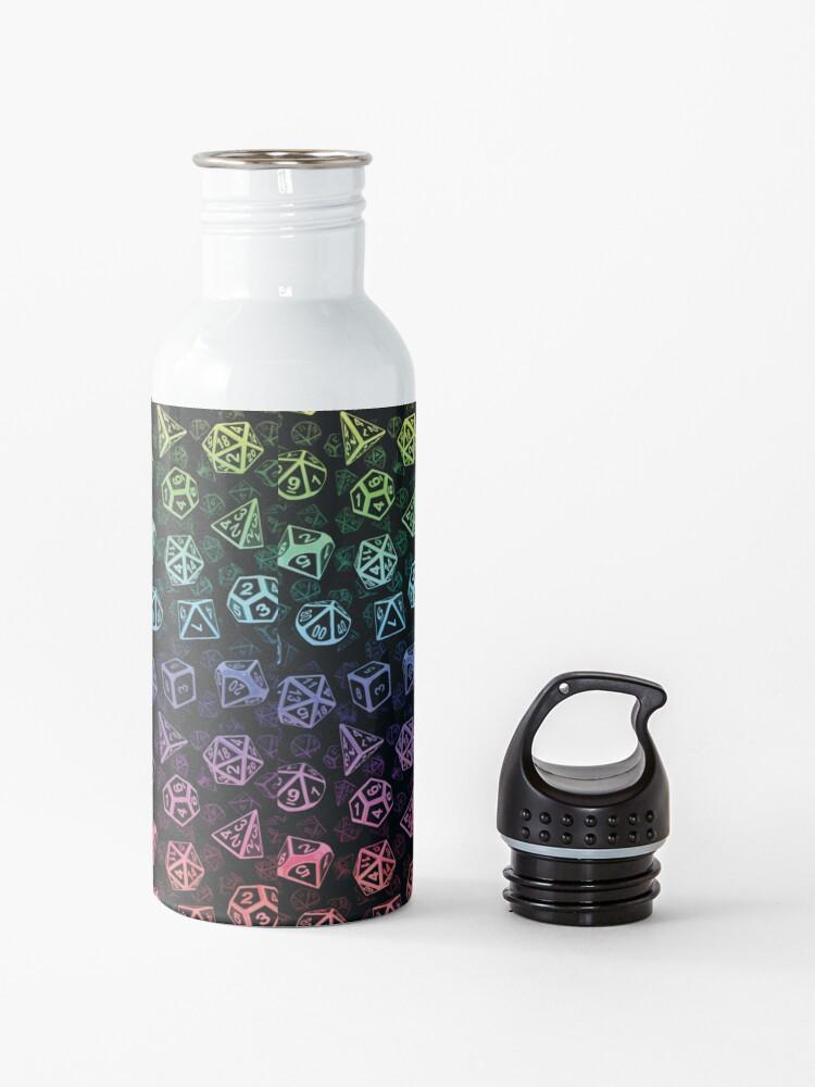 Alternate view of D20 Dice Set Pattern (Rainbow) Water Bottle