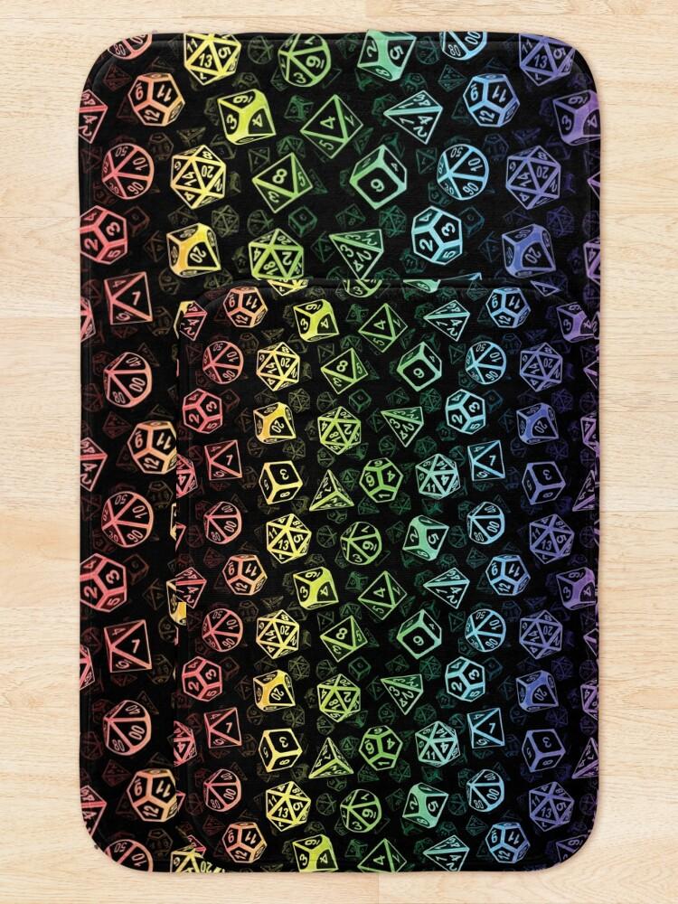 Alternate view of D20 Dice Set Pattern (Rainbow) Bath Mat