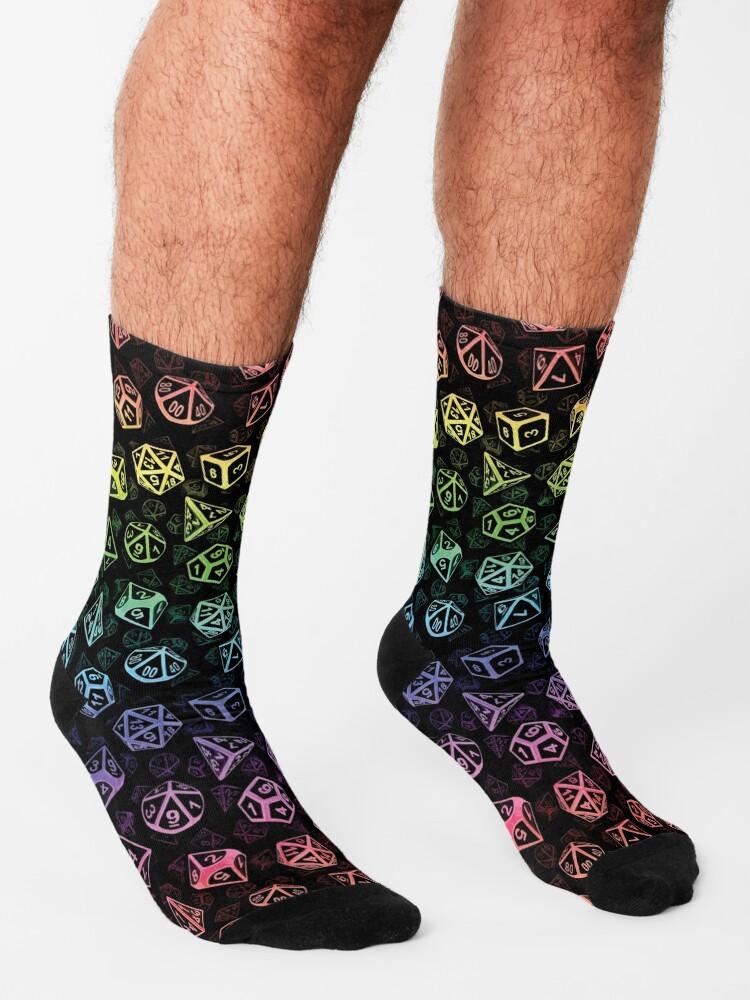 Alternate view of D20 Dice Set Pattern (Rainbow) Socks