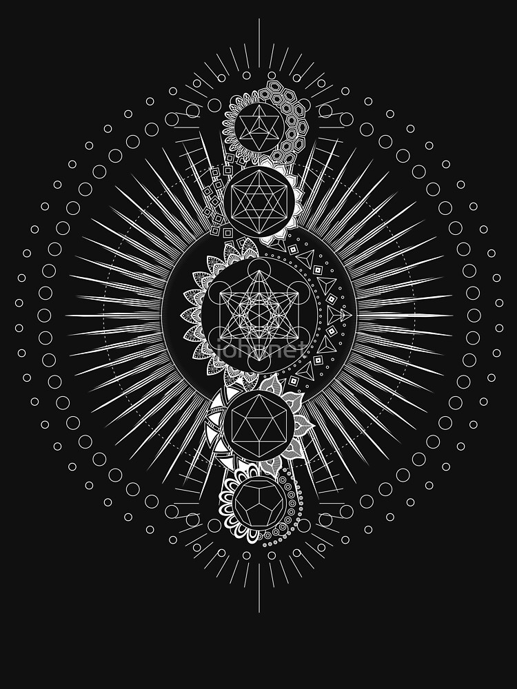 Sacred Geometry Metatron's Cube White Transcendence by johnnet