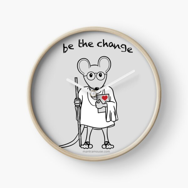 Copy of MantraMouse® Be the Change Cartoon on Gray Background Clock