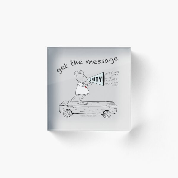 MantraMouse® Get the Message of Unity Cartoon in Color on Gray Background Acrylic Block