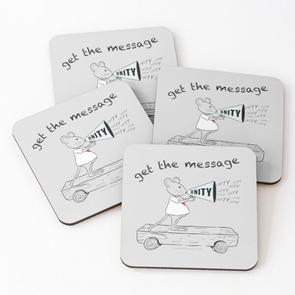 MantraMouse® Get the Message of Unity Cartoon in Color on Gray Background Coasters (Set of 4)