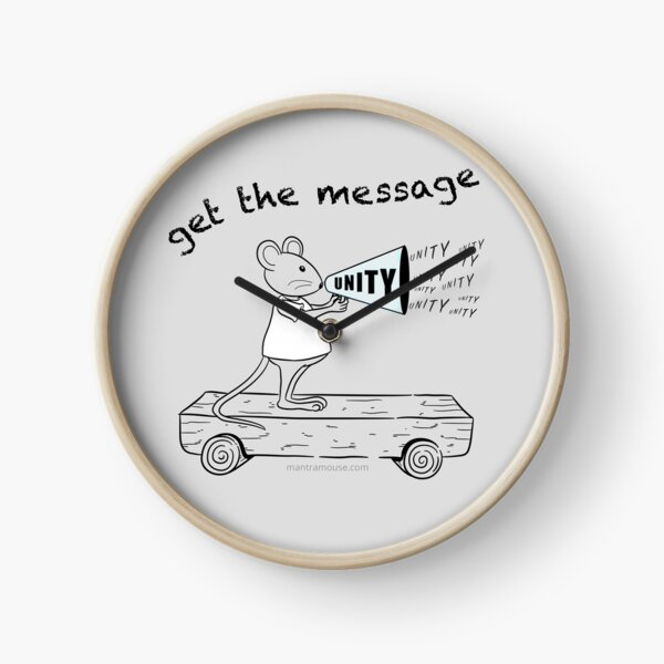 MantraMouse® Get the Message of Unity Cartoon in Color on Gray Background Clock