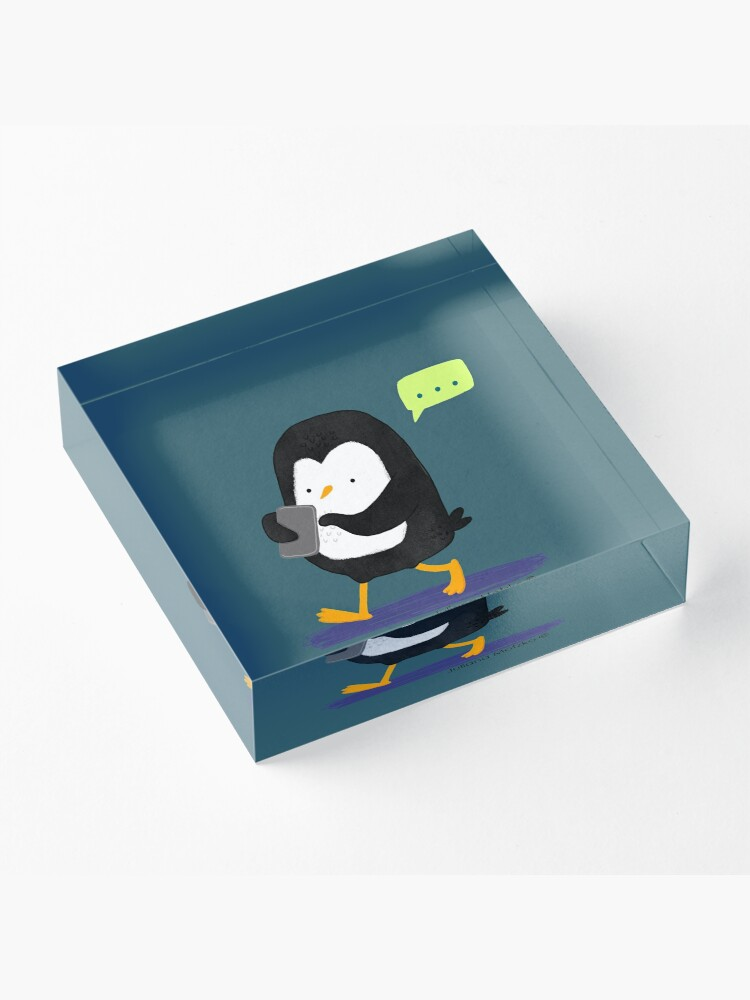 Alternate view of Penguin Texting Acrylic Block