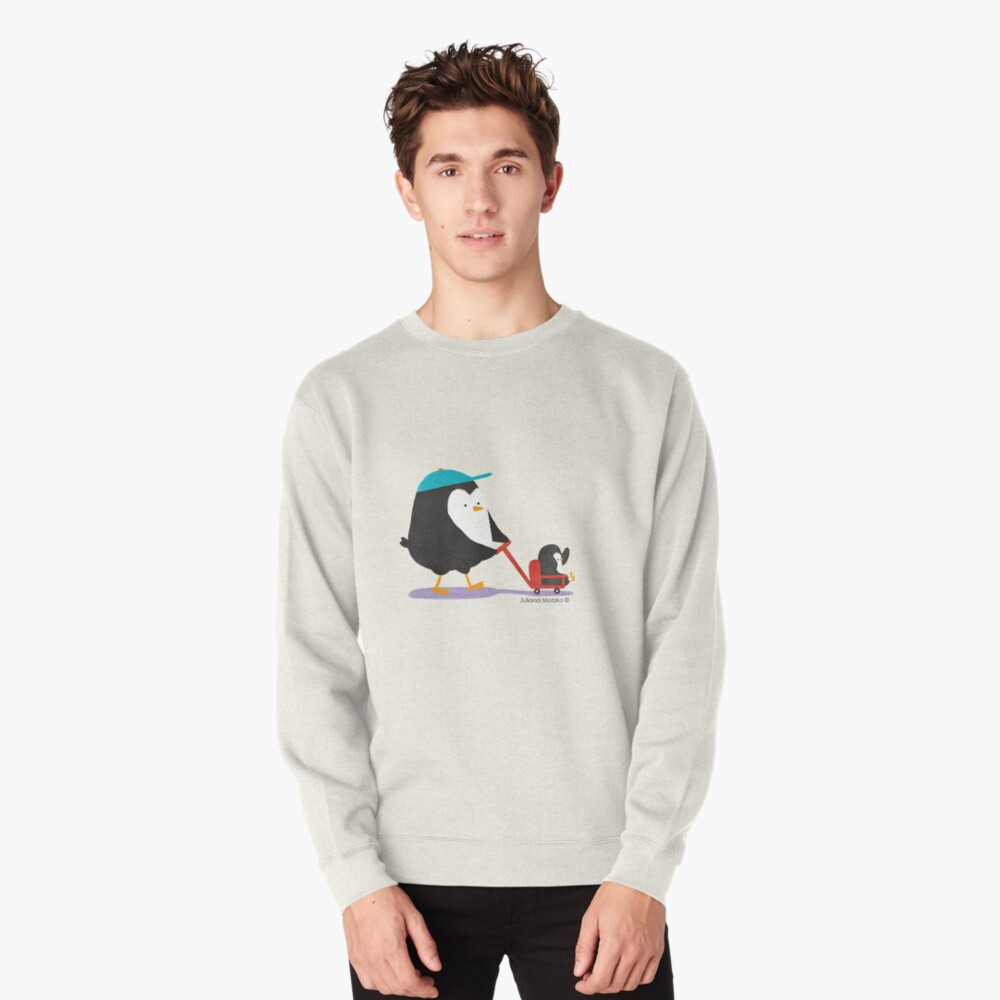 Penguin Dad and Baby Penguin  Pullover Sweatshirt