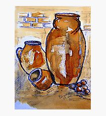 Only three jars (painted with coffee) Photographic Print