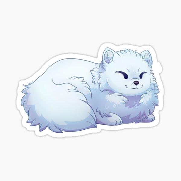 Cute Arctic Fox laying Down Sticker