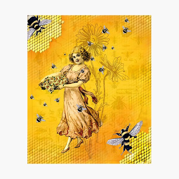Honey Child Flower Girl with Bees Photographic Print
