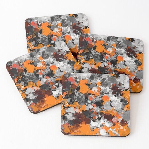 Orange and Grey Paint Splatter Coasters (Set of 4)