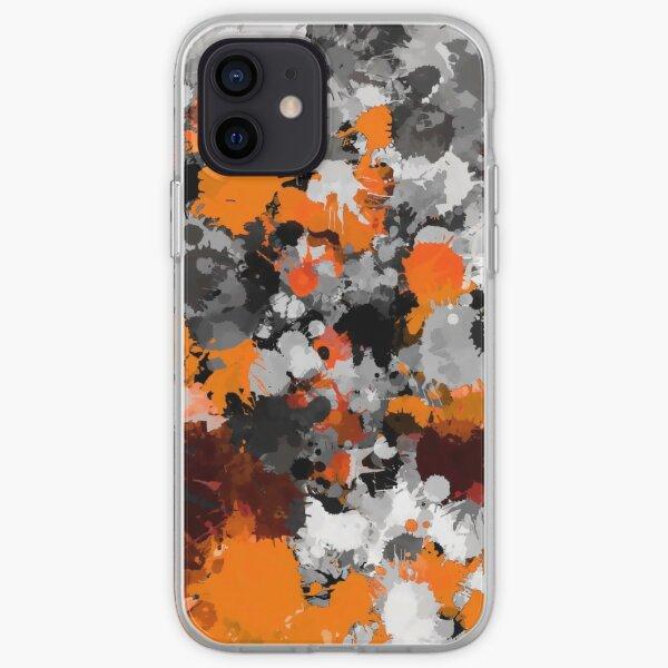 Orange and Grey Paint Splatter iPhone Soft Case